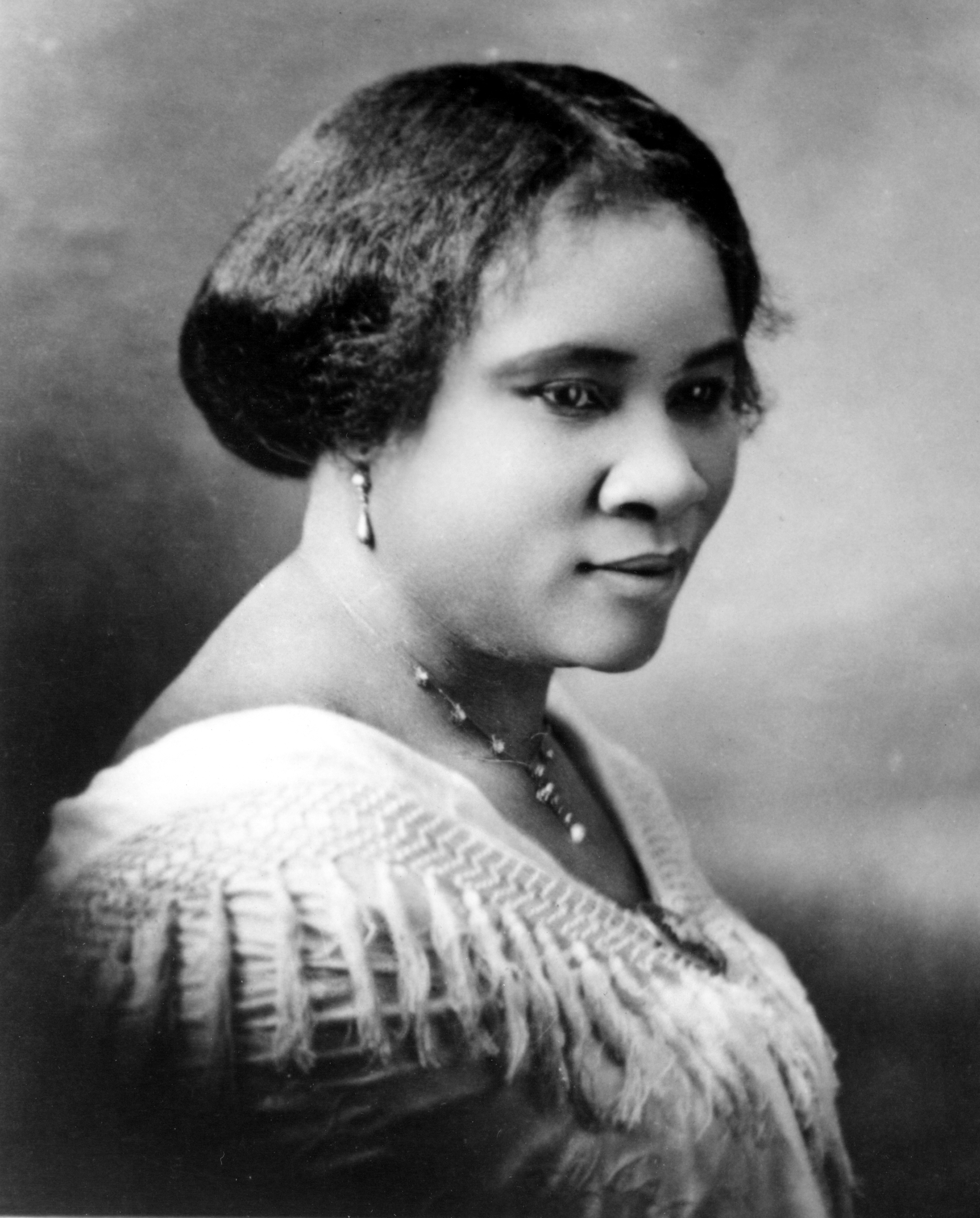 CIRCA 1914:  Madam C.J. Walker (Sarah Breedlove) the first female self made millionaire in the world poses for a portrait circa 1914. (Photo by Michael Ochs Archives/Getty Images)